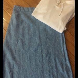 Beautiful Sky Blue Linen Maxi Skirt, Size 4